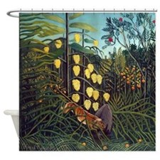 Henri Rousseau Tiger and Buffalo Shower Curtain