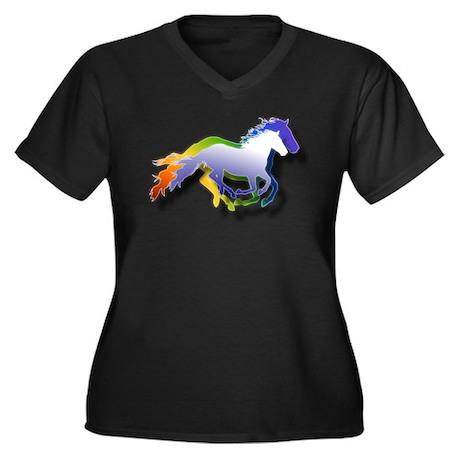 Running Women's Plus Size V-Neck Dark T-Shirt