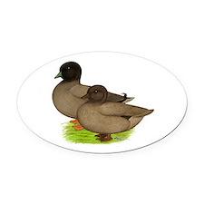 Khaki Call Ducks Oval Car Magnet