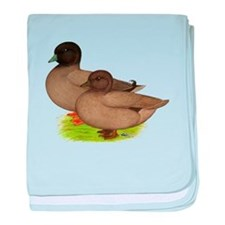 Khaki Call Ducks baby blanket