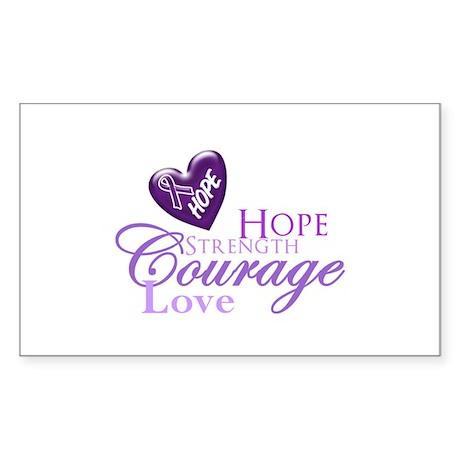 Hope Strength Love Sticker (Rectangle)