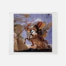 Bellerophon on Pegasus Throw Blanket