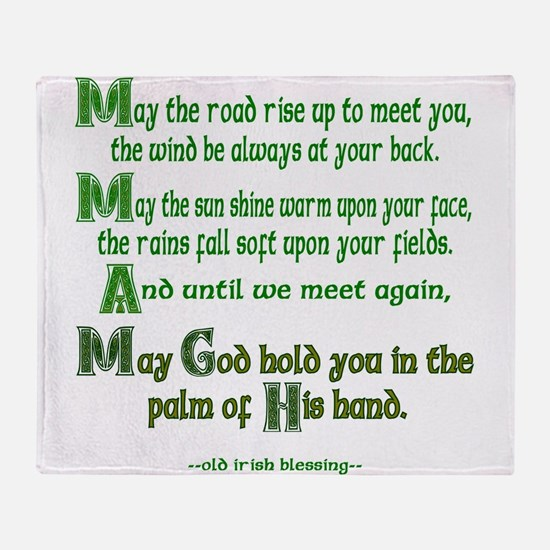 """Irish Blessing """"May the Road"""" Throw Blanket"""
