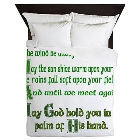 """Irish Blessing """"May the Road"""" Queen Duvet"""