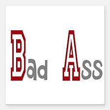 "BA Bad Ass Square Car Magnet 3"" x 3"""