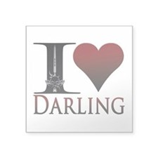 "I Heart Darling Square Sticker 3"" x 3"""