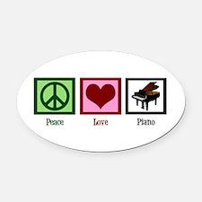 Peace Love Piano Oval Car Magnet