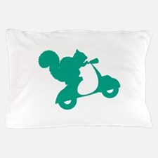 Turquoise Squirrel on Scooter Pillow Case