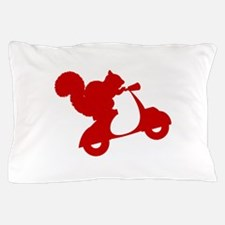 Red Squirrel on Scooter Pillow Case