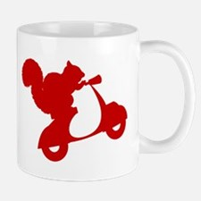 Red Squirrel on Scooter Mug