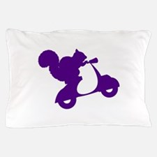 Purple Squirrel on Scooter Pillow Case