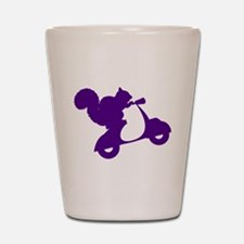 Purple Squirrel on Scooter Shot Glass