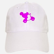 Pink Squirrel on Scooter Baseball Baseball Cap