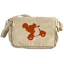 Orange Squirrel on Scooter Messenger Bag