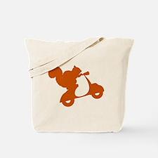 Orange Squirrel on Scooter Tote Bag