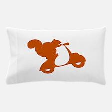 Orange Squirrel on Scooter Pillow Case