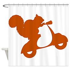 Orange Squirrel on Scooter Shower Curtain