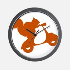 Orange Squirrel on Scooter Wall Clock