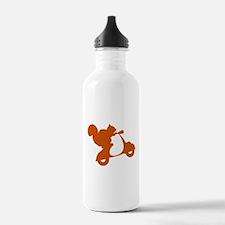 Orange Squirrel on Scooter Water Bottle