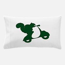 Dark Green Squirrel on Scooter Pillow Case