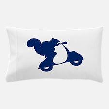 Dark Blue Squirrel on Scooter Pillow Case
