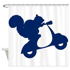 Dark Blue Squirrel on Scooter Shower Curtain