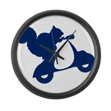 Dark Blue Squirrel on Scooter Large Wall Clock
