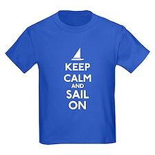 Keep Calm And Sail On Kids Dark T-Shirt