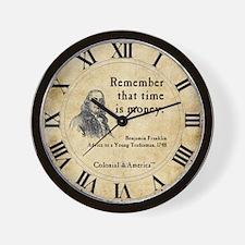 Benjamin Franklin Wall Clock - Time is Money