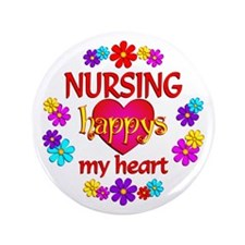 "Nursing Happy 3.5"" Button (100 pack)"