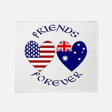 Australia USA Friends Forever Throw Blanket
