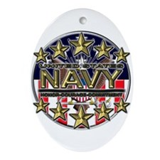 USN Navy Honor RWB Ornament (Oval)