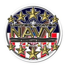 USN Navy Honor RWB Round Car Magnet