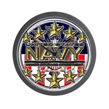 USN Navy Honor RWB Wall Clock