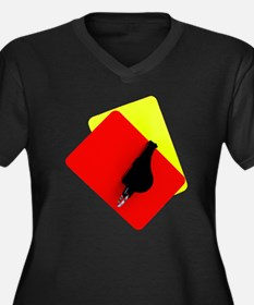 red and yellow card Women's Plus Size V-Neck Dark