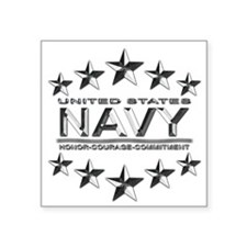 "US Navy Honor Metal Square Sticker 3"" x 3"""