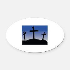 Cross Oval Car Magnet