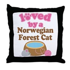 Loved By Norwegian Forest Cat Cat Throw Pillow