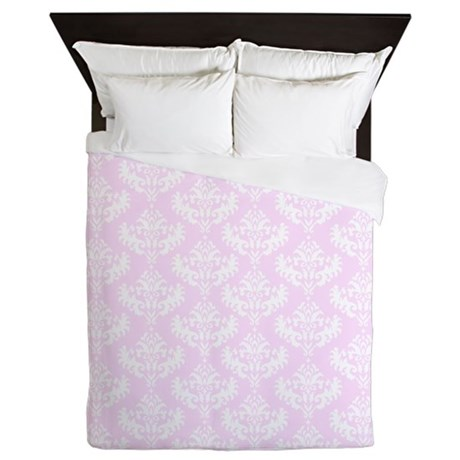 Pink Damask Queen Duvet