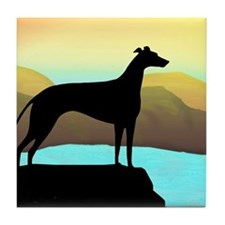 greyhound by the sea Tile Coaster