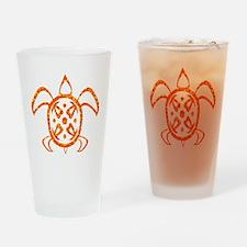 Orange Sea Turtle Drinking Glass