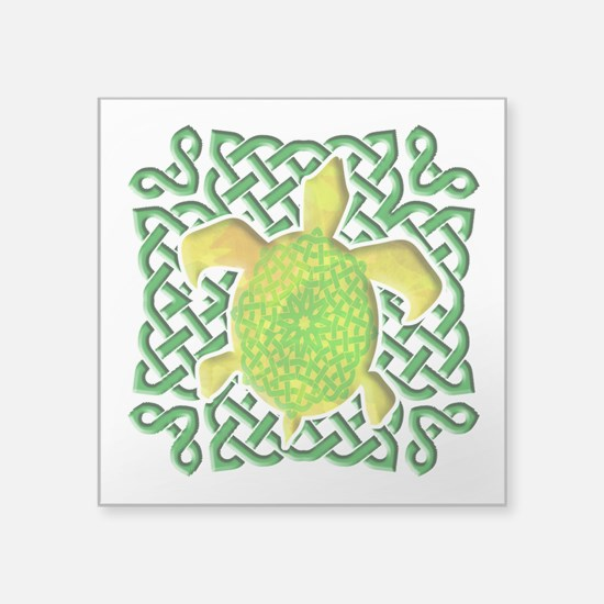 "Celtic Knot Turtle (Green) Square Sticker 3"" x 3"""