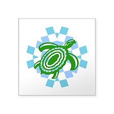 """Green Cutout Turtle Square Sticker 3"""" x 3"""""""