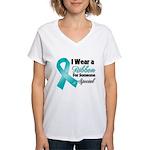 Special Ovarian Cancer Women's V-Neck T-Shirt