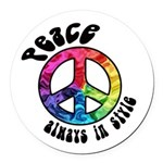 Peace Always in Style Round Car Magnet