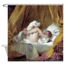 Jean-Honore Fragonard Girl With A Dog Shower Curta