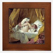 Jean-Honore Fragonard Girl With A Dog Framed Tile