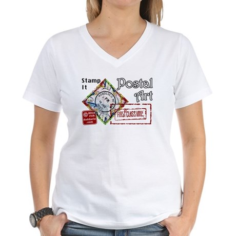 Postal Art First Class Women's V-Neck T-Shirt