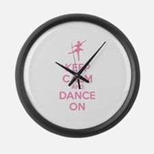 Keep calm and dance on Large Wall Clock
