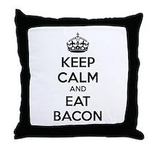 Keep calm and eat bacon Throw Pillow